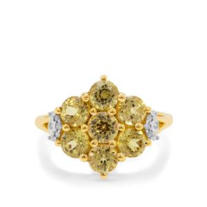 Mali Garnet Ring with Diamond in 9K Gold 3cts