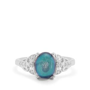 Blue Moonstone Ring with White Zircon in Sterling Silver 2.20cts