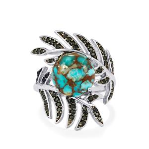 Egyptian Turquoise & Black Spinel Sterling Silver Ring ATGW 5.58cts