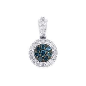 Blue Diamond Pendant with White Diamond in 10K White Gold 0.50ct
