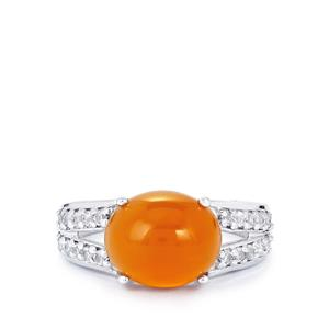 American Fire Opal Ring with White Topaz in Sterling Silver 3.44cts