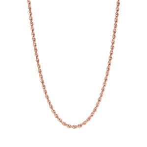 """22"""" 9K Rose Gold Tempo Rope Chain 7.80g"""