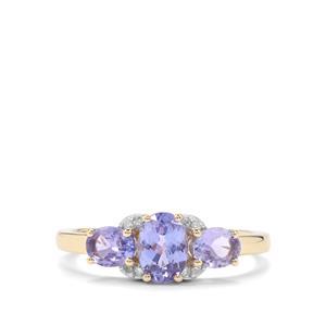 AA Tanzanite & Diamond 9K Gold Ring ATGW 1.24cts