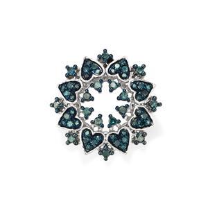 Blue Diamond Pendant in Sterling Silver 0.52ct