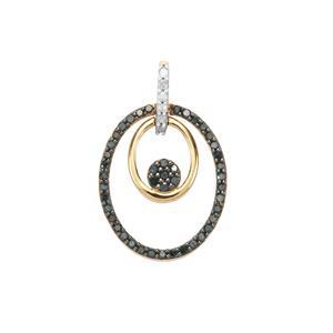 1/3ct Blue & White Diamond 9K Gold Pendant