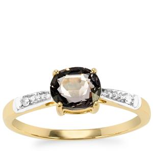 Burmese Multi-Colour Spinel Ring with Diamond in 9K Gold 1.16cts