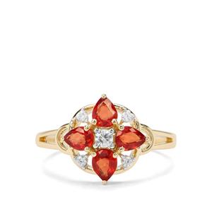 Songea Ruby & White Zircon 9K Gold Ring ATGW 1.26cts