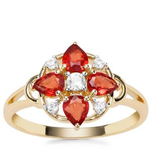 Songea Ruby Ring with White Zircon in 9K Gold 1.26cts