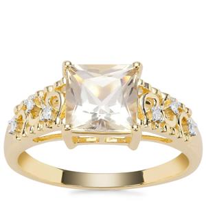 Cuprian Sunstone Ring with Diamond in 9K Gold 1.62cts
