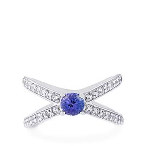 AA Tanzanite & White Topaz Sterling Silver Ring ATGW 0.90cts