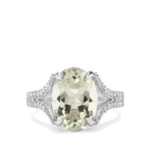 Prasiolite & White Topaz Sterling Silver Ring ATGW 6.63cts