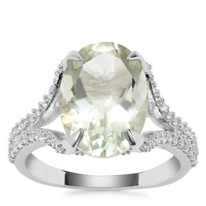 Prasiolite Ring with White Topaz in Sterling Silver 6.63cts