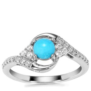 Sleeping Beauty Turquoise Ring with White Zircon in Sterling Silver 0.74ct