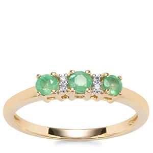 Zambian Emerald Ring with White Zircon in 9K Gold 0.43ct