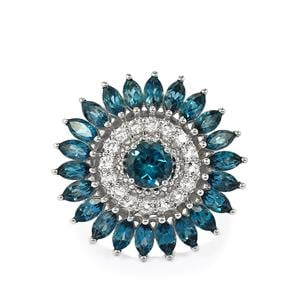 Marambaia London Blue Topaz Ring with White Topaz in Sterling Silver 5.92cts