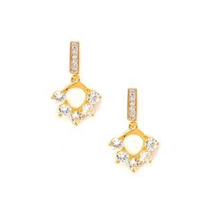Sri Lankan White Sapphire & White Topaz Midas Earrings ATGW 2.24cts
