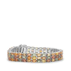 33.97ct Rainbow Sapphire Sterling Silver Bracelet