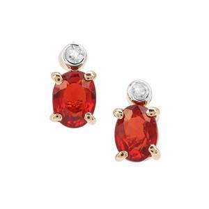 Songea Ruby & Diamond 9K Gold Earrings ATGW 0.50ct