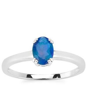 0.51ct Ethiopian Blue Opal Sterling Silver Ring
