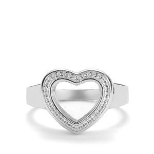 White Topaz Locket Ring in Sterling Silver 0.01ct