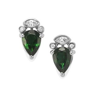Chrome Tourmaline Earrings with Diamond in Platinum 950 1.35cts