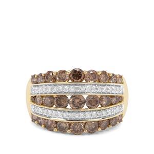 2.33ct Champagne & White Diamond 9K Gold Ring