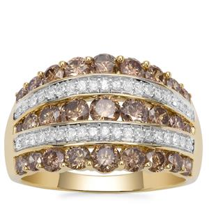 Champagne Diamond Ring with White Diamond in 9K Gold 2.33cts