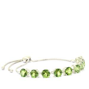 12.67ct Lone Star Fern Green Quartz Sterling Silver Slider Bracelet