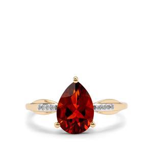 Madeira Citrine & Diamond 10K Gold Ring ATGW 1.54cts