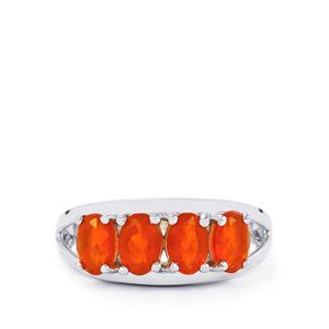 AA Strawberry American Fire Opal Ring in Sterling Silver 1.28cts