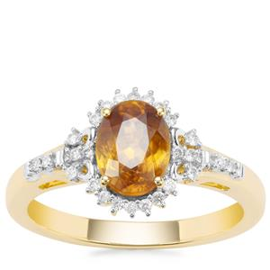 Ambilobe Sphene Ring with Diamond in 18K Gold 1.54cts