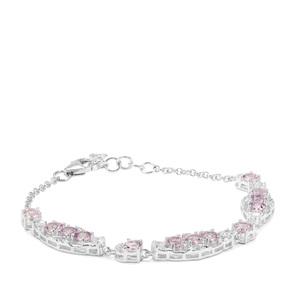 Rose du Maroc Amethyst & White Zircon Sterling Silver Bracelet ATGW 3.73cts