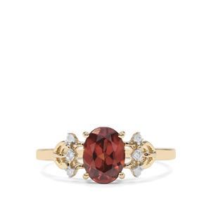 Zanzibar Sunburst Zircon & Diamond 9K Gold Ring ATGW 1.91cts
