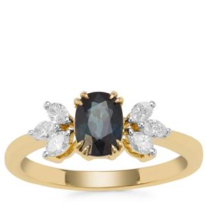 Nigerian Blue Sapphire Ring with Diamond in 18K Gold 1.30cts