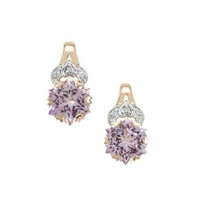 Wobito Snowflake Cut Pink Minx Topaz Earrings with Diamond in 9K Gold 5.70cts