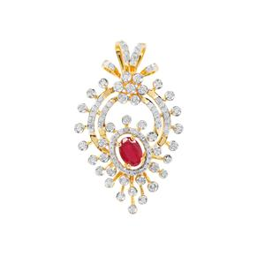 Montepuez Ruby Pendant with Diamond in Gold Plated Sterling Silver 1.78cts (F)