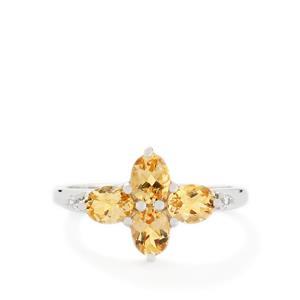 Ouro Preto Imperial Topaz & White Zircon 10K White Gold Ring ATGW 1.65cts