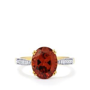 Zanzibar Sunburst Zircon & Diamond 18K Gold Tomas Rae Ring MTGW 5.31cts
