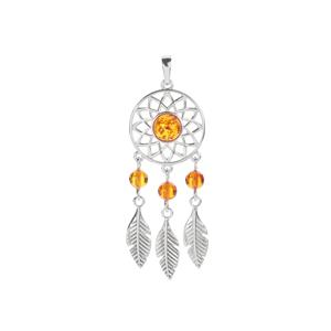 Baltic Cognac Amber Sterling Silver Dream Catcher Necklace