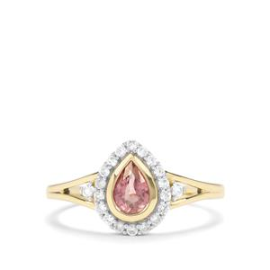 Padparadscha Sapphire & White Zircon 9K Gold Ring ATGW 0.79cts