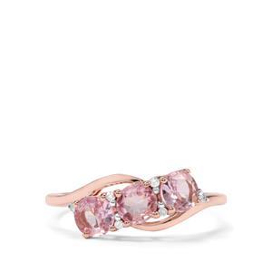 Andhra Pradesh Spinel & Diamond 9K Rose Gold Ring ATGW 1.09cts