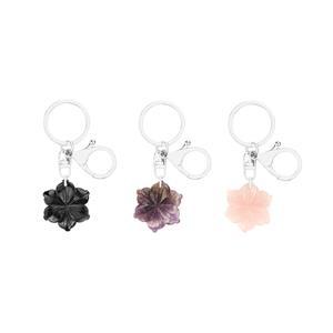 Gem Auras Flower Key Fob / Handbag Charm - ATGW 30cts  (.AM=Amethyst / .OB=Black Obsidian / .RQ=Rose Quartz)