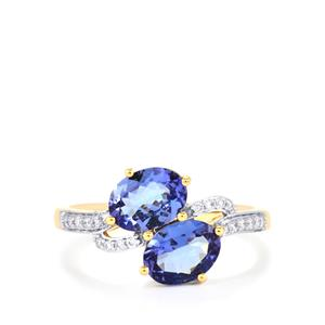 AA Tanzanite Ring with Diamond in 18k Gold 1.87cts