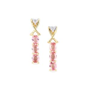 Sakaraha Pink Sapphire Earrings with White Zircon in 9K Gold 1.45cts