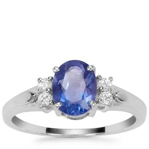 Colour Change Fluorite Ring with White Zircon in Sterling Silver 1.65cts