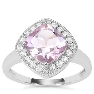 Rose De France Amethyst Partywear Ring with White Topaz in Sterling Silver 2.30cts