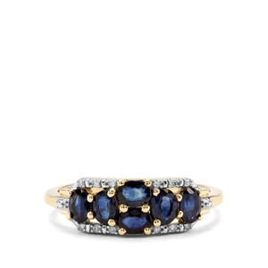 Sant Sapphire & Diamond 9K Gold Ring ATGW 1.30cts