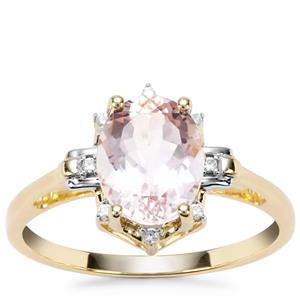 Nigerian Morganite Ring with White Zircon in 9K Gold 1.70cts