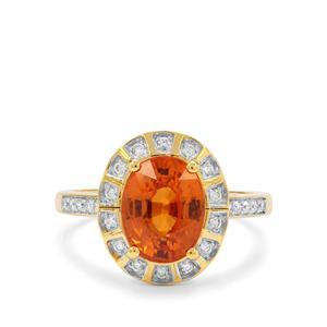 Tangerine Garnet & Diamond 18K Gold  Tomas Rae Ring MTGW 4.24cts