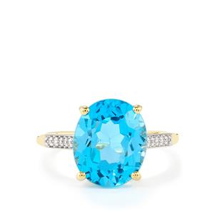 Swiss Blue Topaz Ring with White Zircon in 10k Gold 6.31cts